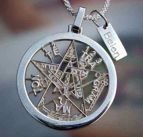 Dije De Tetragramaton Pentagrama Con Placa En Plata Ley.925