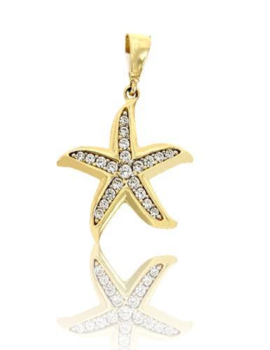 Dije Estrella De Mar Con Circonias Oro 14 K + Obsequio