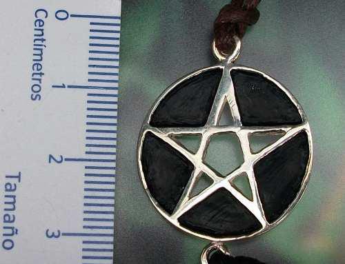 Dije Medalla Grande Pentagrama Símbolo Wicca Plata Ley 925
