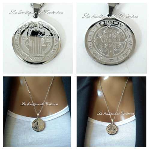 Dije Medalla San Benito Chica Acero Inoxidable