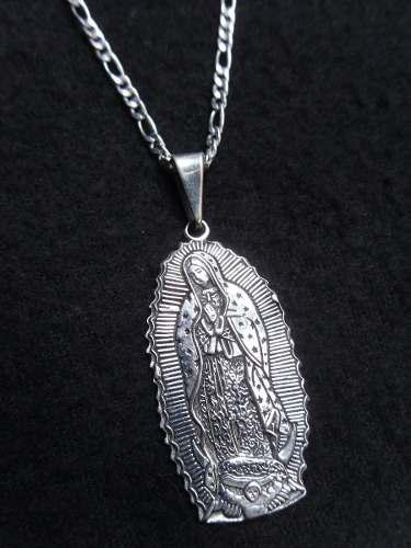 Dije Plata Ley 925, Virgen De Guadalupe Con Cadena 50 Cm.