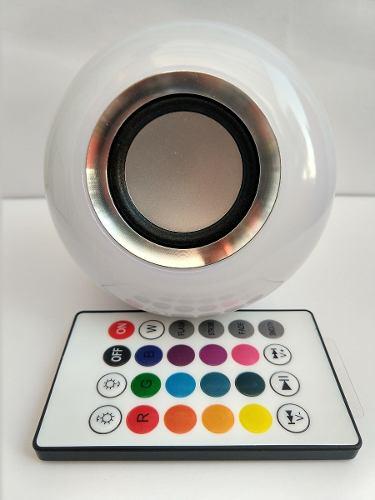 Foco Led De Colores Con Bocina Bluetooth Control Alta Calida