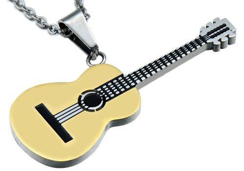 Guitarra Acustica Clasica Dije Collar Acero Inox Unisex Bv3s