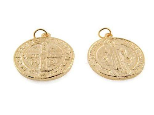 Medalla De San Benito Chapa De Oro14k 1 Cm Bisuteria 12 Pz