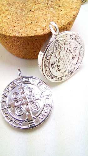 Medalla Grande San Benito En Plata Fina.925 Doble Vista 3cm