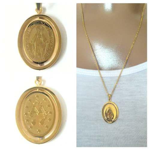 Medalla Virgen De La Luz La Milagrosa Acero Dorado Con Caden
