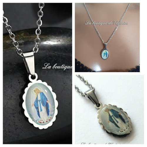 Medalla Virgen De La Luz La Milagrosa Acero Inoxidable Caden