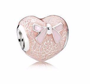 Pandora Charm Lazo Rosa Y Corazón