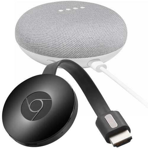 Paquete Google Chromecast + Home Mini Gris Claro Nuevo