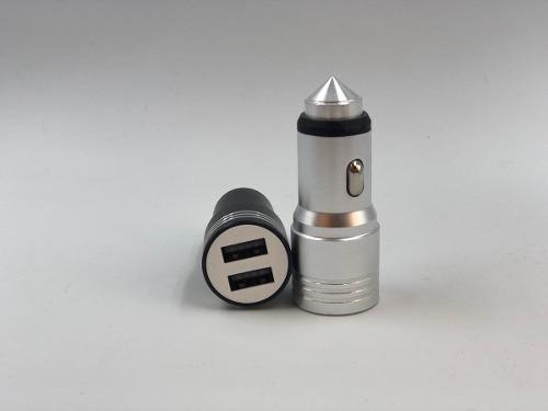 Plug In Cargador Para Auto 2 Puertos Usb 5v 2.1a Aluminio