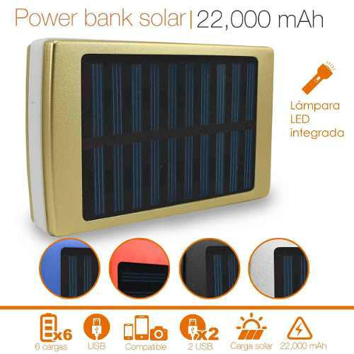 Power Bank Solar Carga Rapida Huawei Linterna Led 22000 Mah
