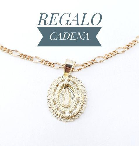 Preciosa Medalla Virgen Bautizo Oro 10k Y Cadena De Regalo