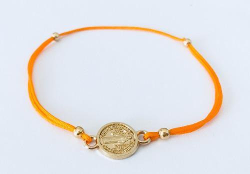 Pulsera Medalla San Benito Hilo Naranja