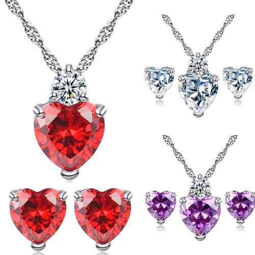 Regalo San Valentin Set Corazón Colores Swarovski Element