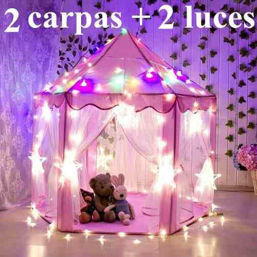 2 Castillo Carpa Casita Princesa Juguete Para Niños Con Luz