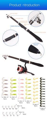 Caña De Pescar Telescopica Kit Equipo Completo Con Carrete