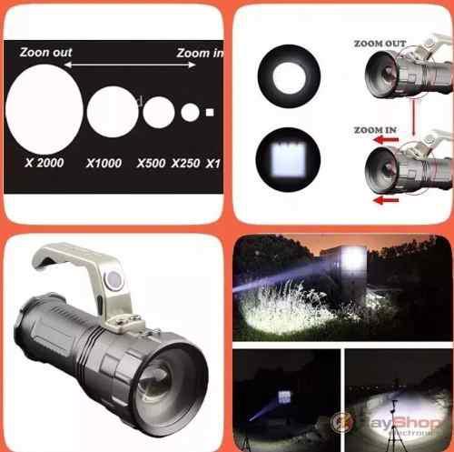 Lampara Farol 8000 Lumens Potente Recargable Zoom Super Zoom
