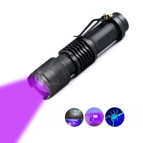Lampara Táctica Luz Negra Uv Led Q5 Bateria Recargable