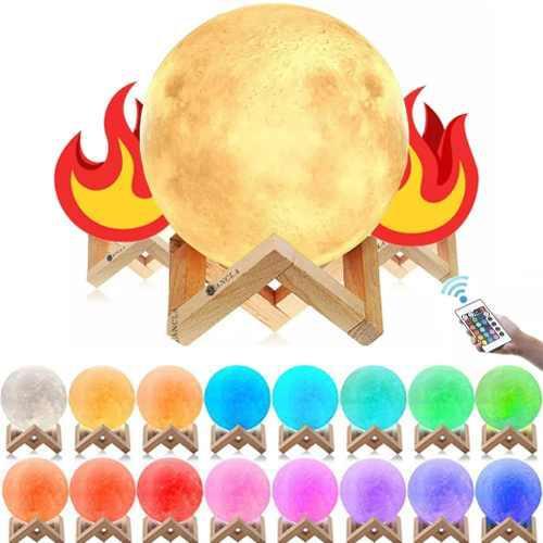 Lámpara De Luna Llena Led 16cm + 16 Colores + Control
