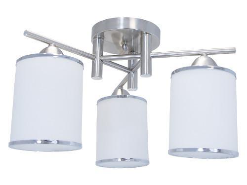 Lámpara De Techo Níquel Satinado & Cromo 60w E27 3 Luces