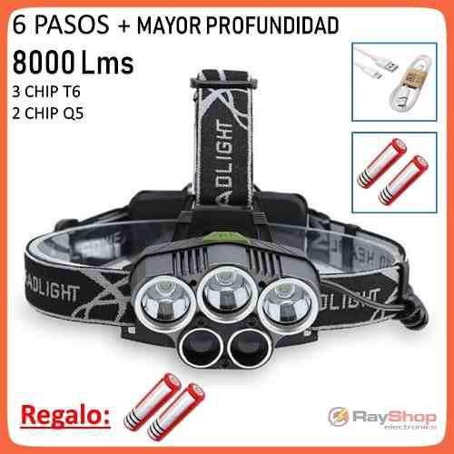 Lámpara Minera Cabeza 5 Led 8000 Lm 6 Pasos De Luz Dt220