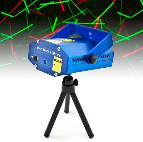 Mini Proyector Caja Luz Laser 2 Color Rojo Verde Audio Ritmo