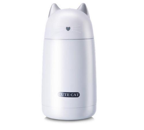 Termo Acero Inoxidable En Forma De Gato Color Blanco