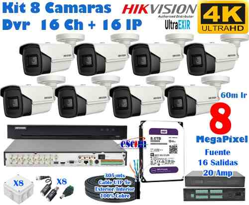 Kit 8 Camaras Hikvision 4k Disco 8 Tb, Dvr m Ir 8 Mp