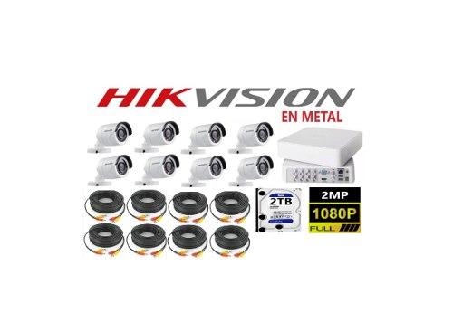Kit Circuito Cerrado 8 Cámaras Hikvision Hd p / 2mp 2tb