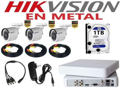 Kit Video Vigilancia 3 Camaras Hikvision p/ 2mp 1tb
