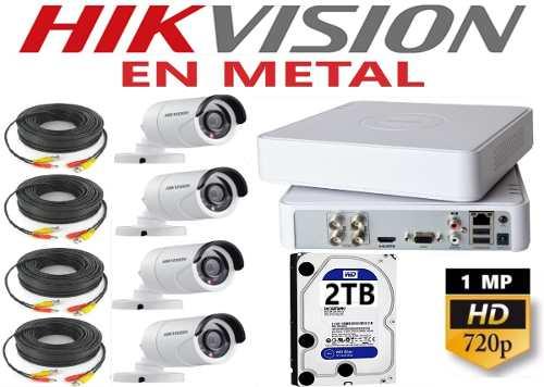 Kit Video Vigilancia 4 Cámaras Hd p / 2mp En Metal 2tb