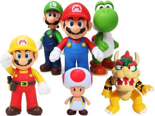1 Muñeco De 12 Cm Articulado Mario Bros Luigi Yoshi