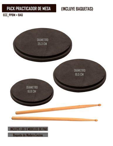 4 Packs De Pads Practicadores De Batería + Baquetas