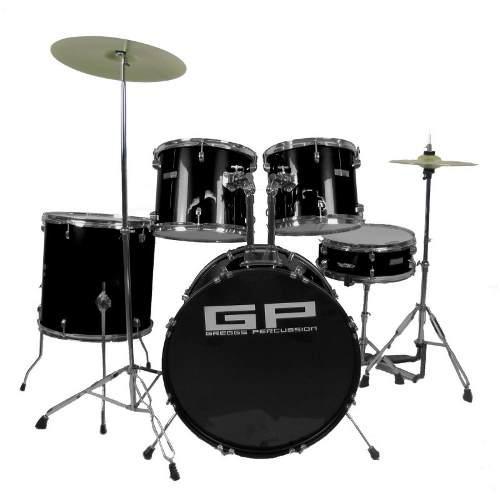 Bateria Greggs Percussion Negra 5 Piezas, Platillos Y Banco