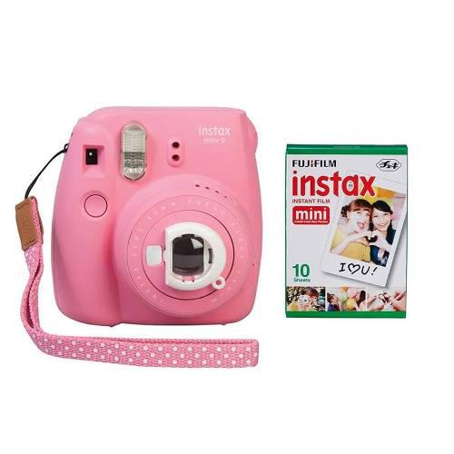 Camara Instax Fuji Mini 9 Rosa Flaming+kit De 10peliculas