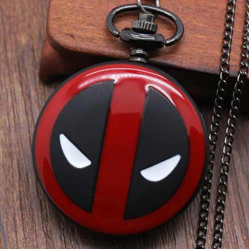 Reloj Deadpool Tipo Bolsillo De Colección Con Cadena