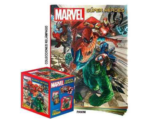 lbum Súper Héroes De Marvel + Caja De Estampas + Envio