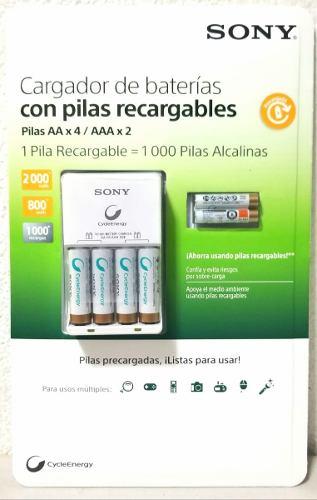 Baterias Recargables Sony Cargador + 4 Pilas Aa+ 2 Aaa