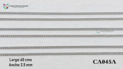 Cadena Argollas 60cms 2.5mm Acero Inoxidable Plateado