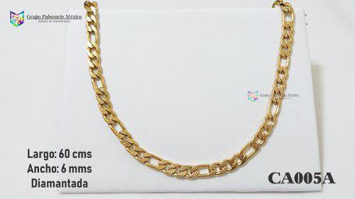 Cadena Caballero Diamantada Cartier 60cms 6mm Acero Dorado