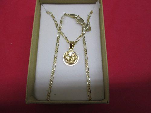 Cadena Figaro Y Medalla Bautizo Chapa Oro 14 Kilates