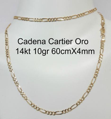 Cadena Tipo Cartier De Oro Macizo 14k 60cm Pesa 10gr 4mm