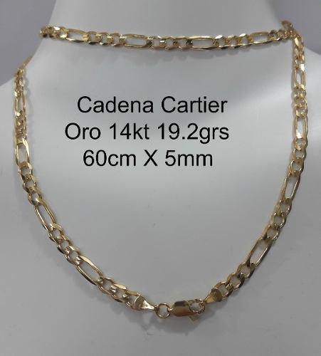 Cadena Tipo Cartier De Oro Macizo 14k 60cm Pesa 19.2gr 5mm