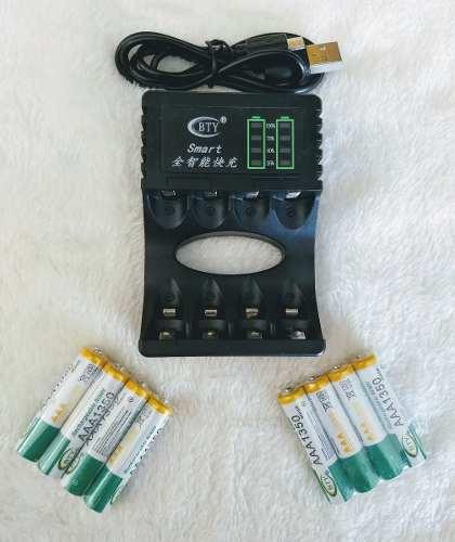 Cargador Led Inteligente + 12 Baterias Recargables Aa Ó Aaa