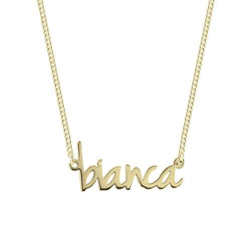 Collar Con Nombre En Cursiva Chapado En Oro 18k