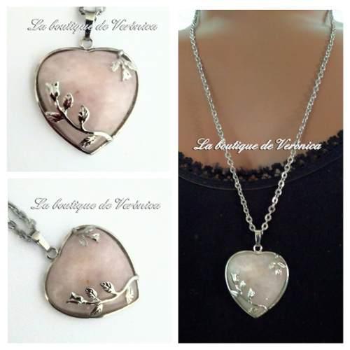 Collar Corazón Cuarzo Rosa Natural Grande Acero Cadena