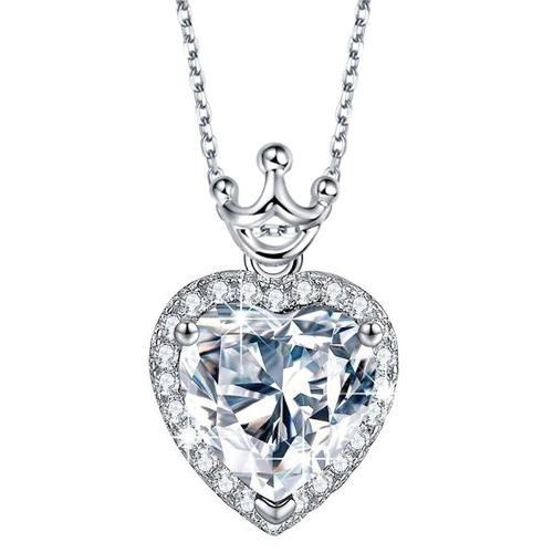 Collar Corazón Plata 925 + Cadena + Swarovski Envío Gratis