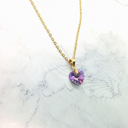Collar Corazón Swarovski 10 Mm Chapa Oro 22k + Envio Gratis