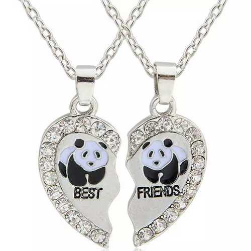 Collar Corazon Oso Panda Mejores Amigos Bf Dhl Gratis