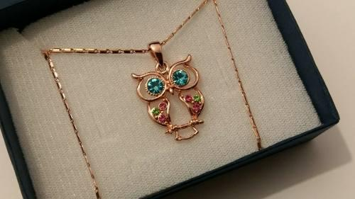 Collar De Buho Cristal Swarovski Y Oro Rosa Laminado